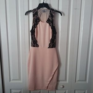 Pink Dress with Black Lace Size M